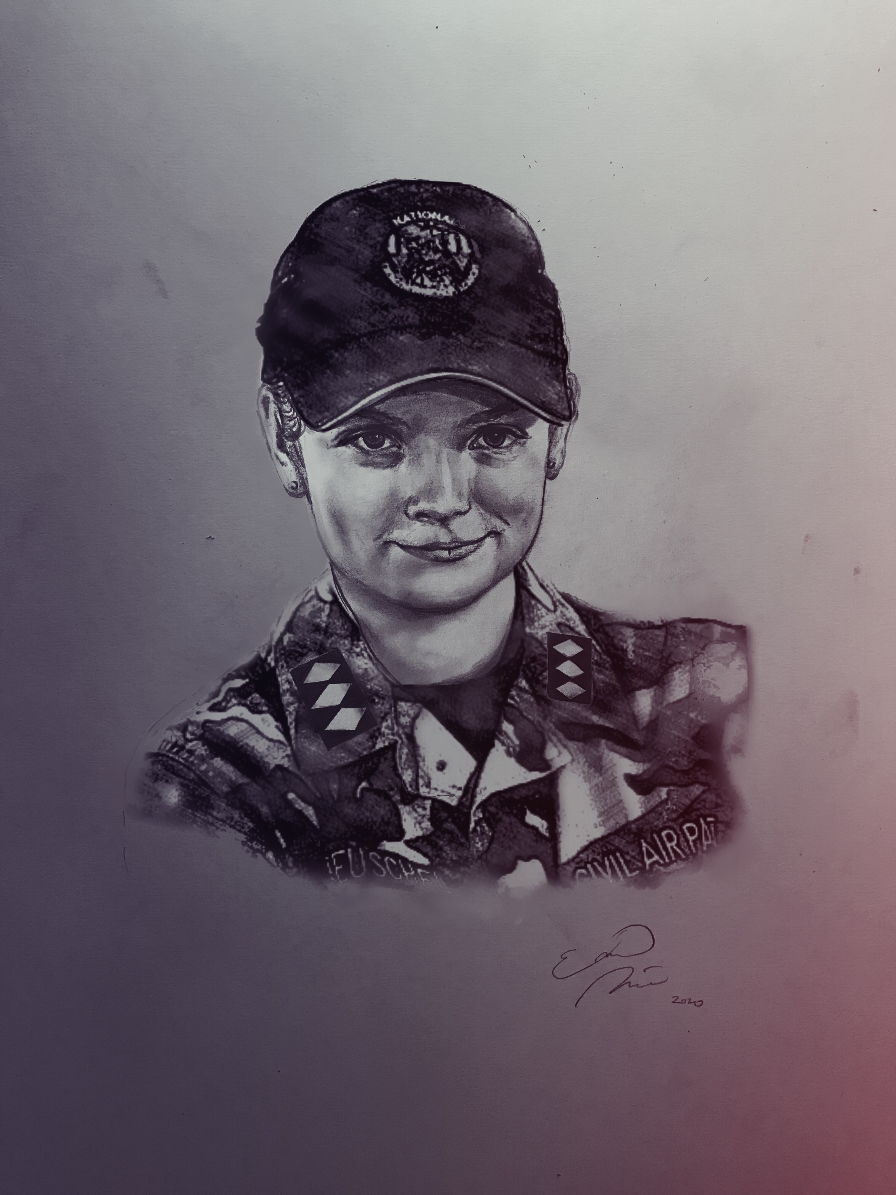 A charcoal portrait of Cadet Colonel Whitney Reuschel, drawn by Emma Merritt.
